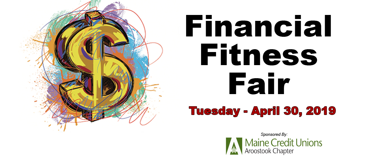 Financial Fitness Fair graphic with dates of event Tuesday April 30 2019 link to application and video