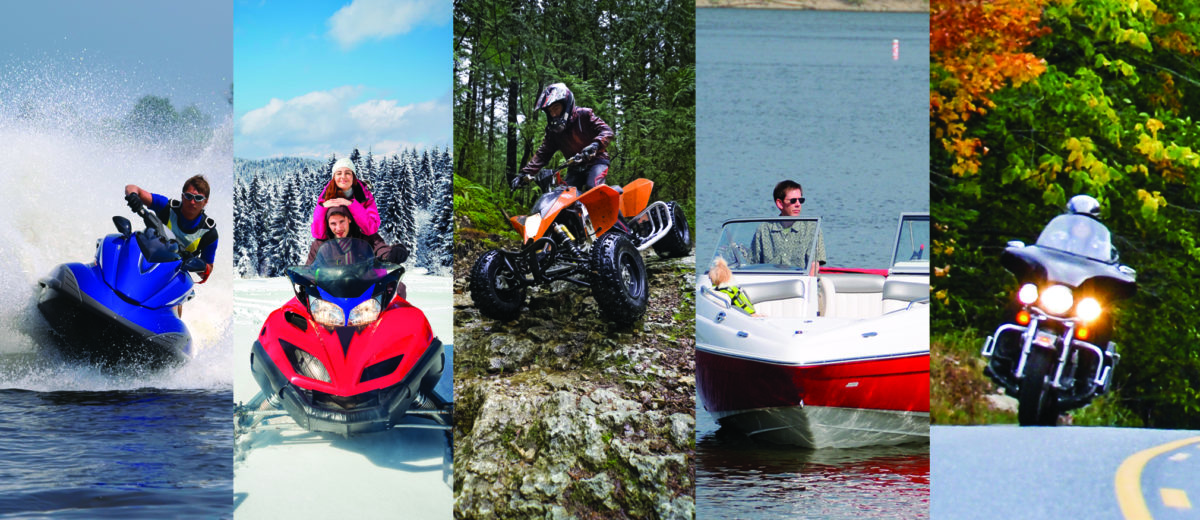 Compilation of photos of active motorized sports Watercraft spraying water, snowmobiling couple, atv going over rocks, man in powerboat, motorcycle on road in fall