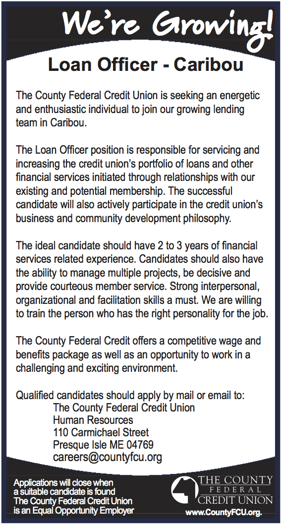 Advertisement for Caribou branch Loan Officer