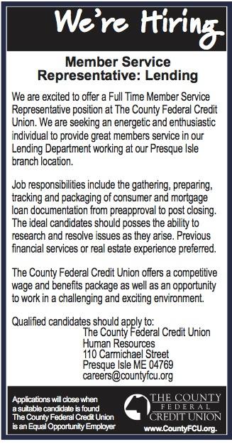 Advertisement for Member Service Representative- Lending