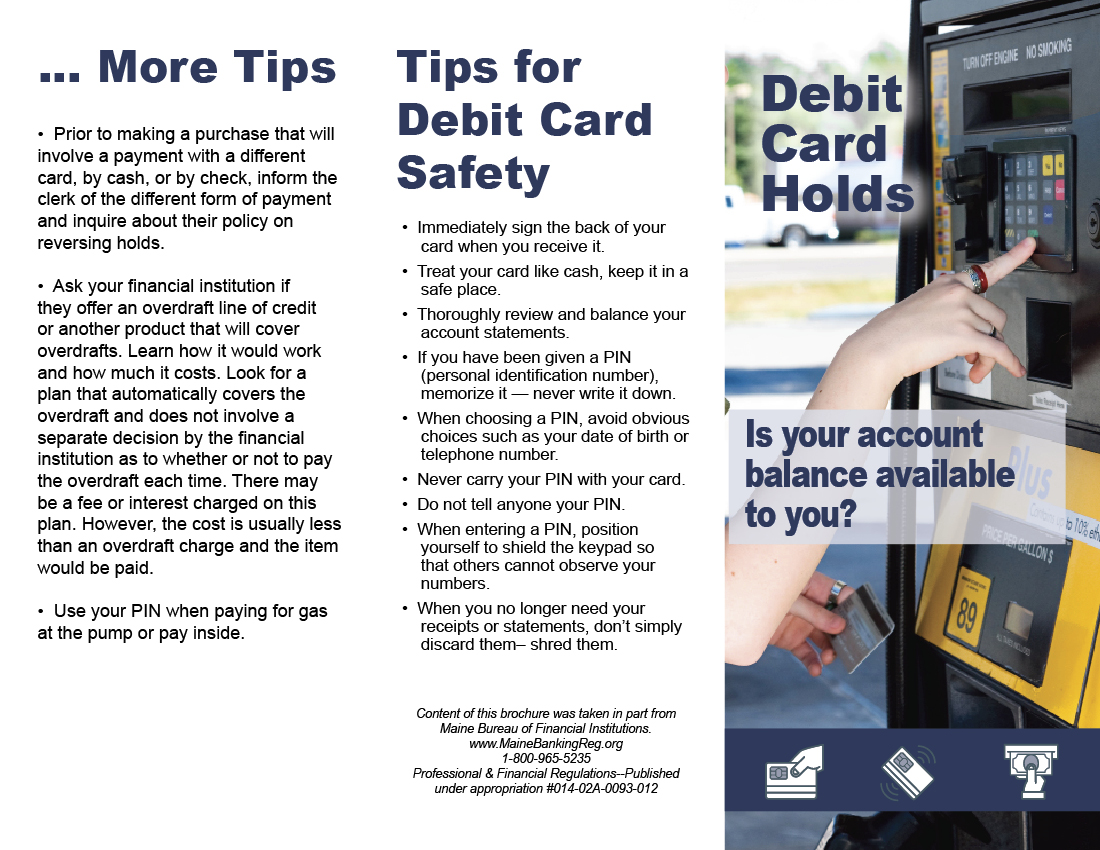 Brochure explaining Debit Card Hold