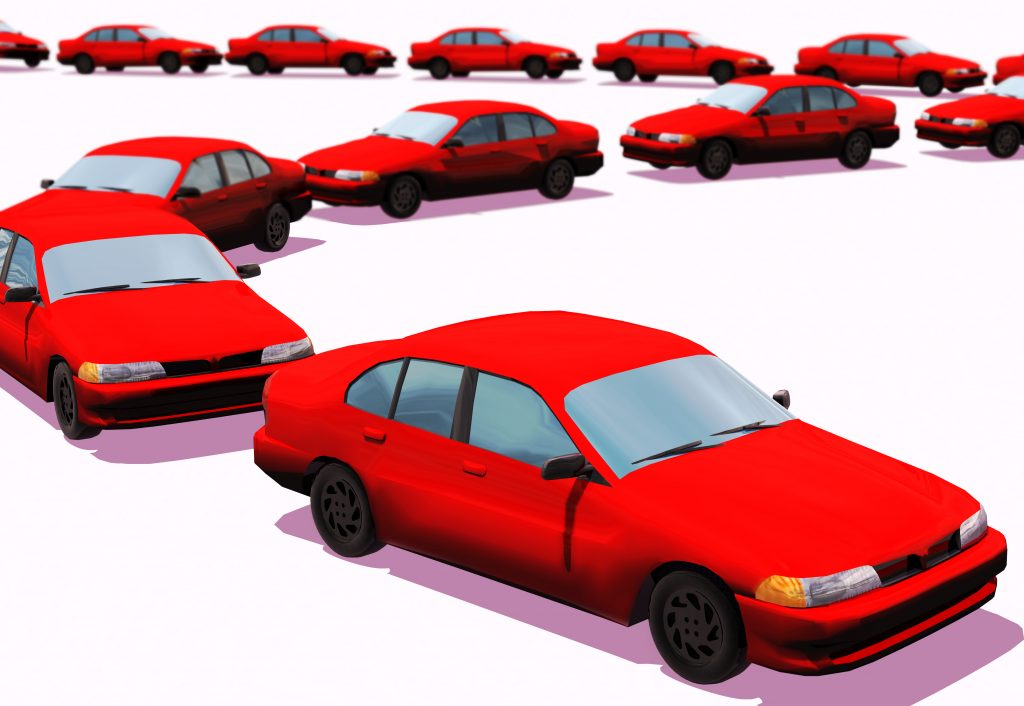 Graphic of a line of cars in single file.